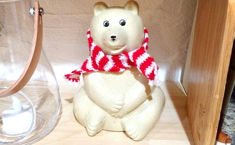 リサラーソンの白クマの貯金箱 AMBER特製マフラーつき